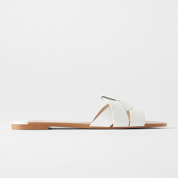 Zara White Leather Crossover Sandals
